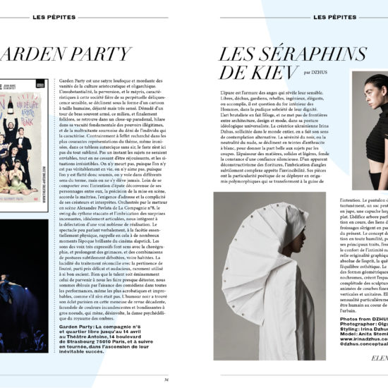 Article pour le spectacle Garden Party et la creatrice DZHUS